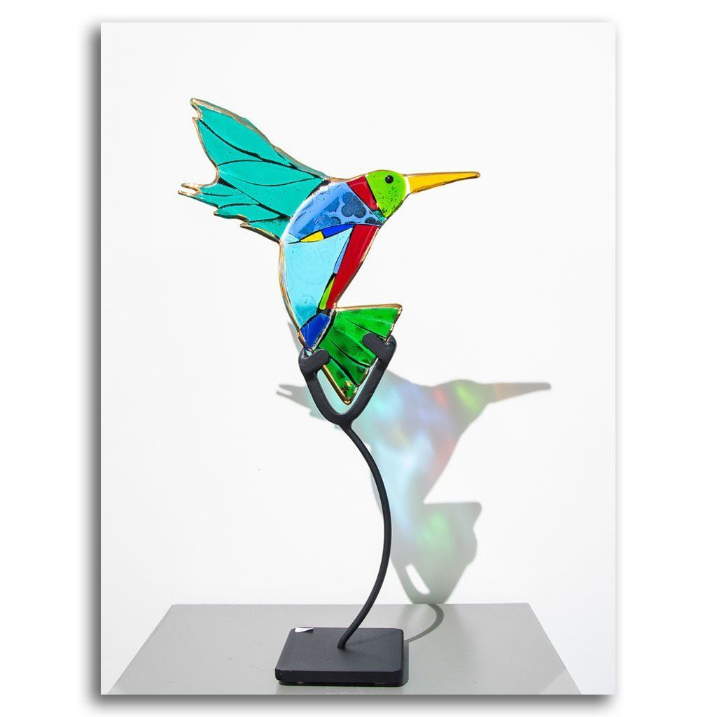 Hummingbirds - Breezy Hand fused glass with metal stand by Tammy Hudgeon