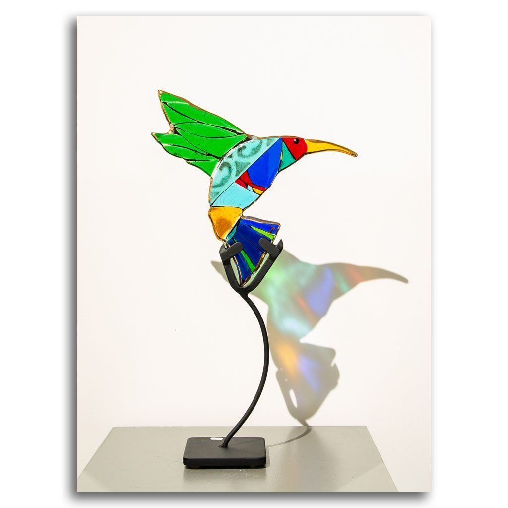 Hummingbirds - Emerald Hand fused glass with metal stand by Tammy Hudgeon