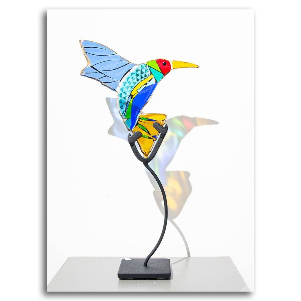 Hummingbirds - Sparkle Hand fused glass with metal stand by Tammy Hudgeon