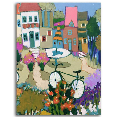 Il était une fois un village Acrylic on Canvas by Claudette Castonguay