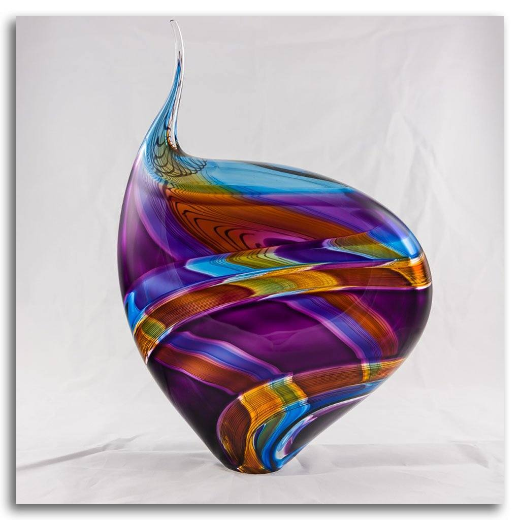 Incalmo Vessel I -  Orange, Purple, and Blue Blown Glass by Paull Rodrigue