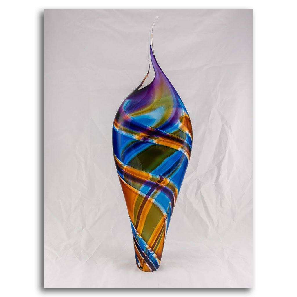 Incalmo Vessel III -  Purple, Orange, and Blue Blown Glass by Paull Rodrigue