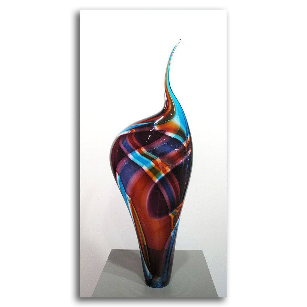Incalmo Vessel - Purple Orange Blue Blown Glass by Paull Rodrigue