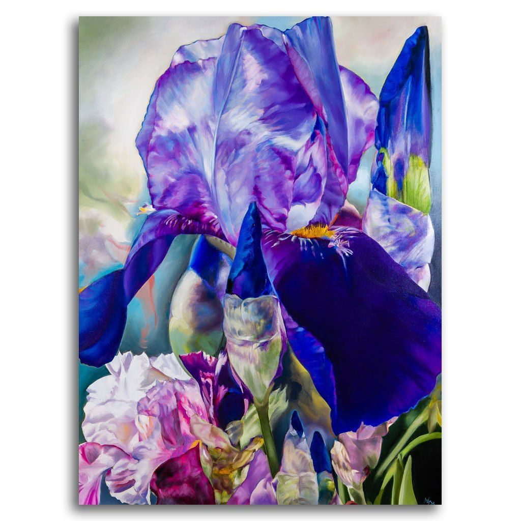 Iris in Purple and Violet Oil on Canvas by Gabor L. Nagy