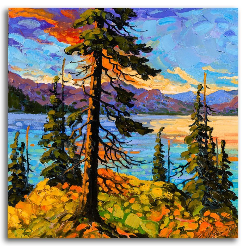 Lake of Many Colours Oil on Canvas by Rod Charlesworth