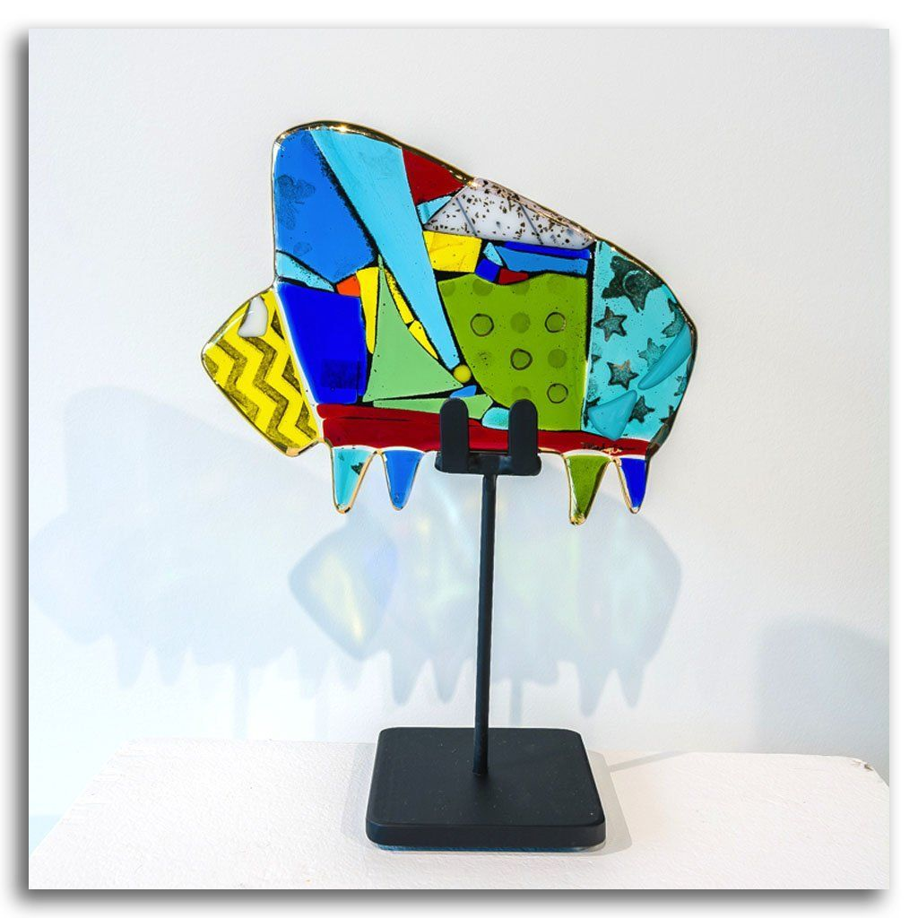 "Large Buffalo ""Bernard"" Hand fused glass with metal stand by Tammy Hudgeon"
