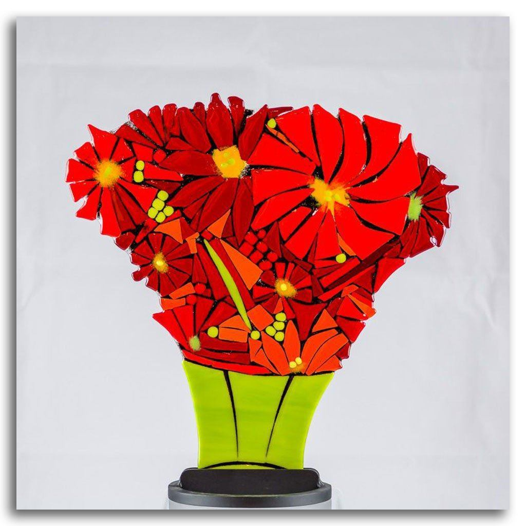 Large Poinsettia with Green Vase Hand fused glass with metal stand by Tammy Hudgeon