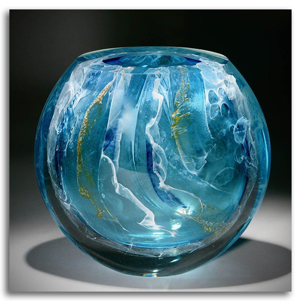 Light Blue Floating III Cold Worked Blown Glass by Maryse Chartrand