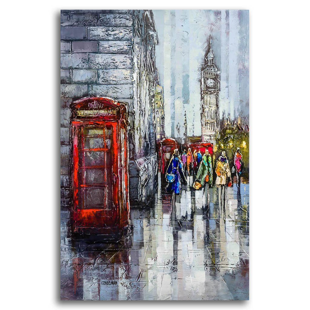 London Street Corner Acrylic on Canvas by Irene Gendelman