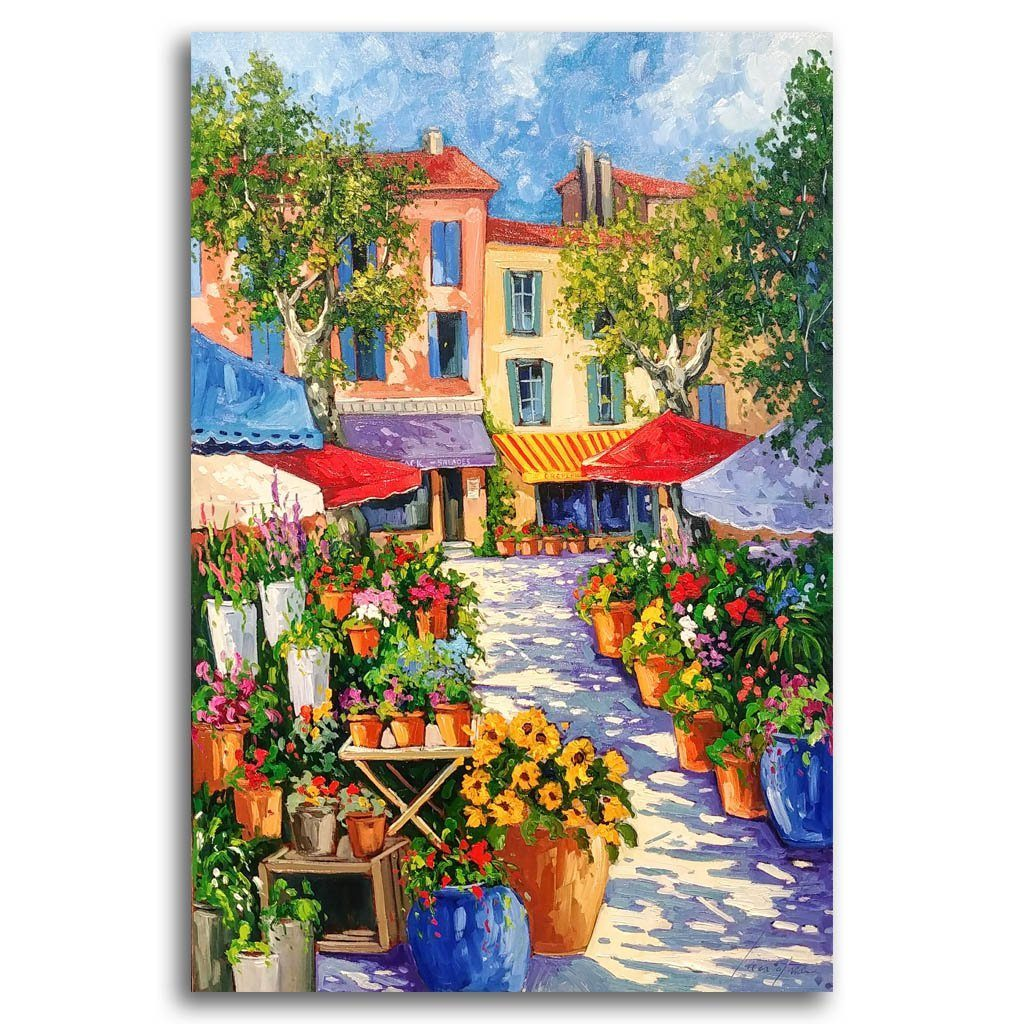 Marché au Fleurs Oil on Canvas by Robert Savignac