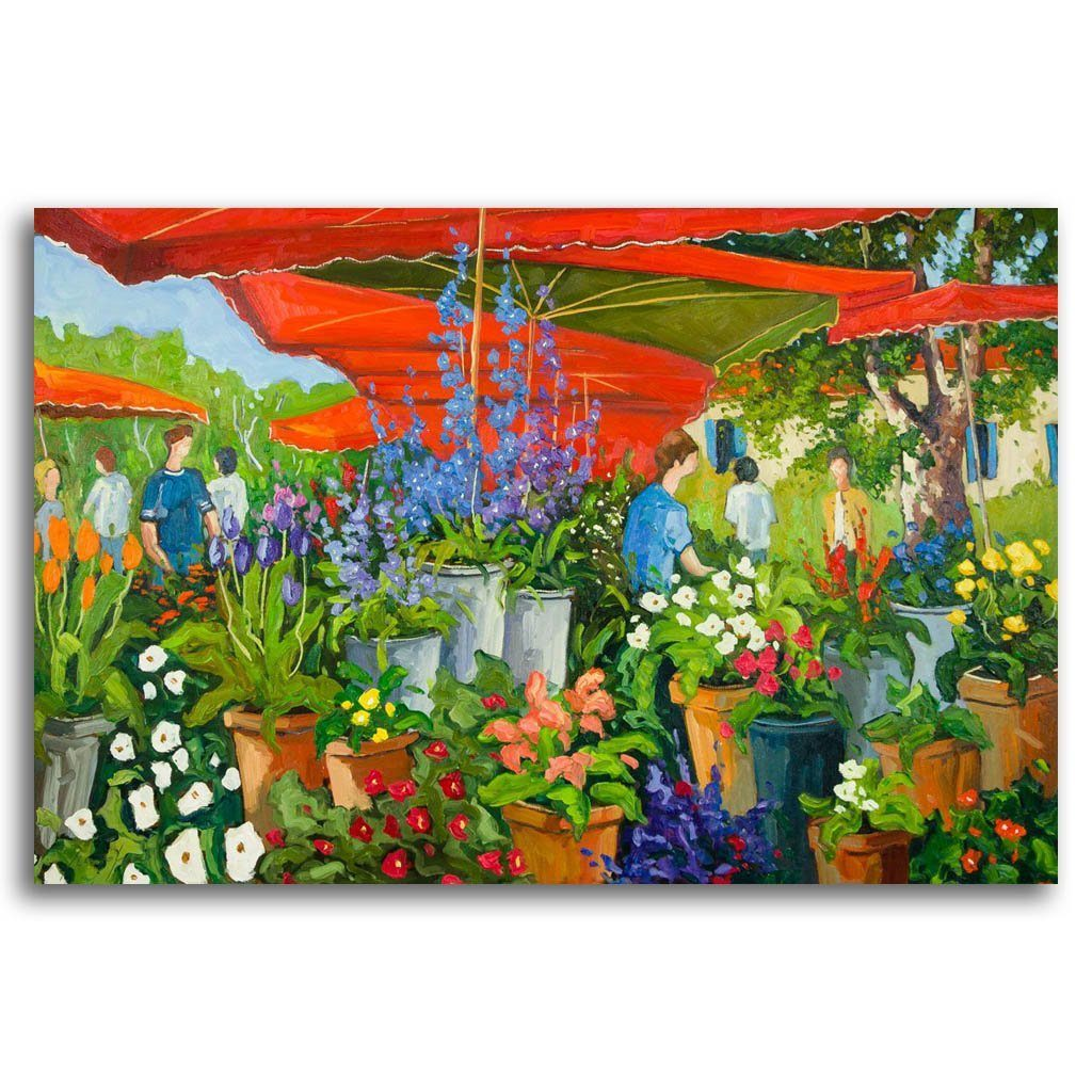 Marché aux Fleurs Oil on Canvas by Robert Savignac