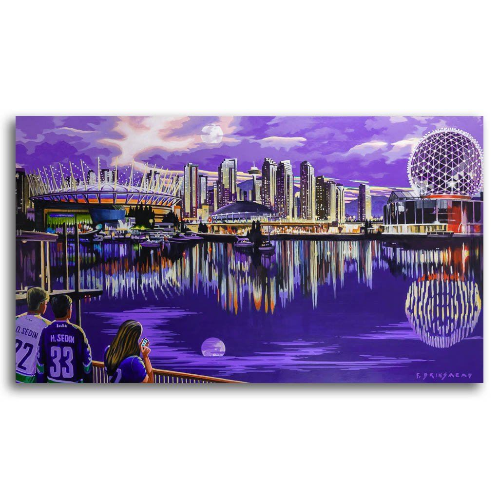 Moon Over False Creek Acrylic on Canvas by Fraser Brinsmead