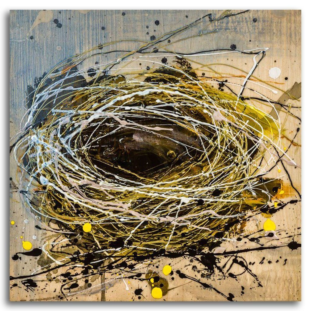 Nest #2 mixed media on panel by Ariane Dubois