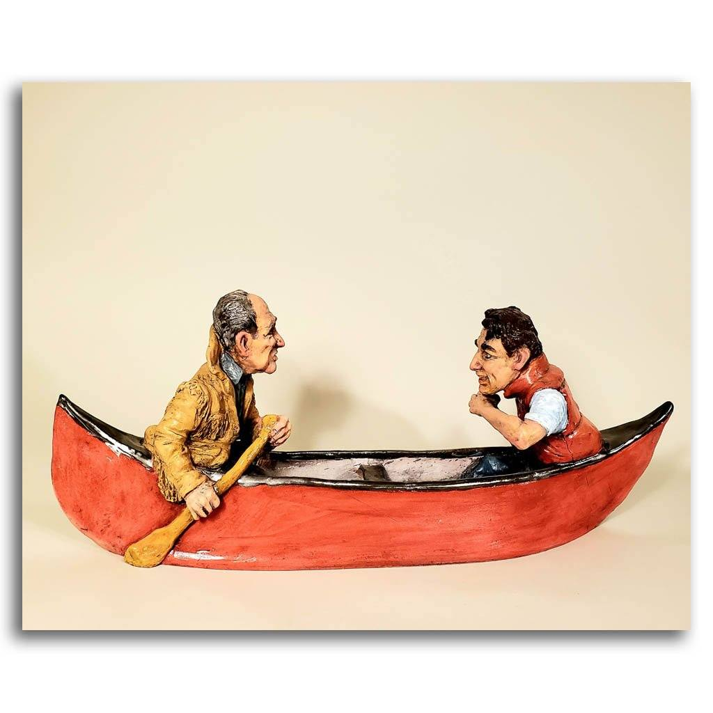 Pierre and Justin paddled up the creek... Ceramic Elaine Brewer-White