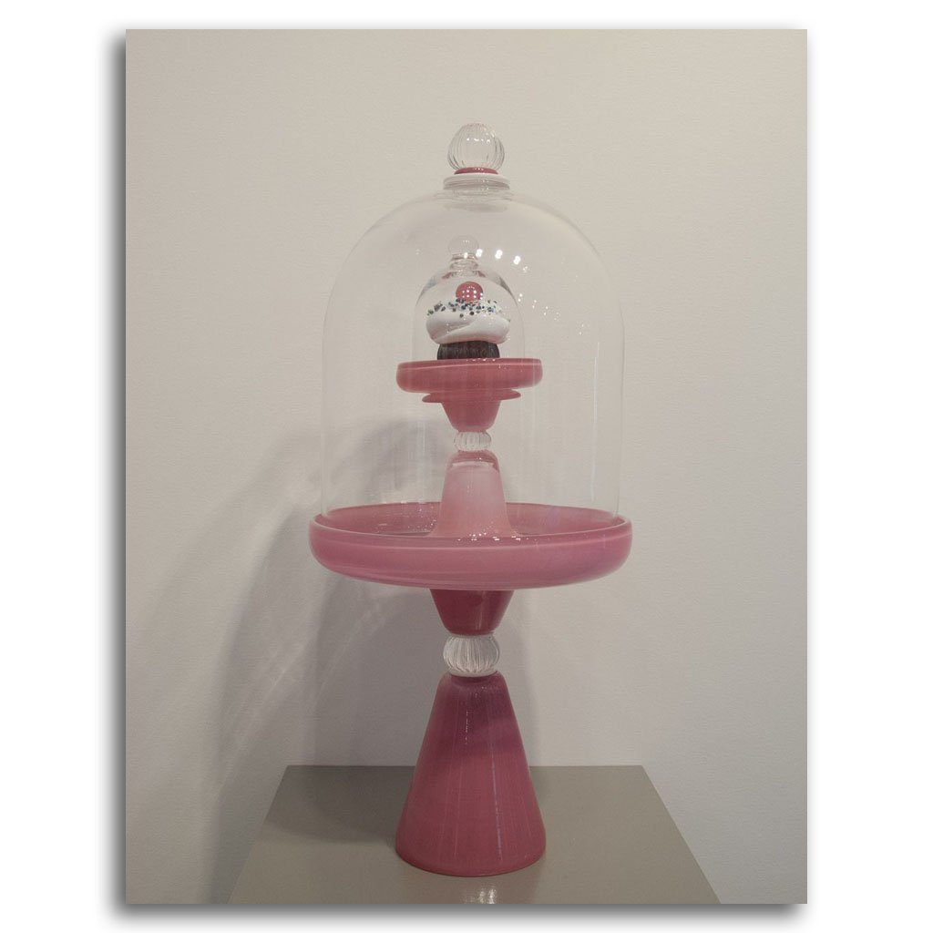 Pink Stand with Clouche and Cupcake Blown Glass by Andrea Ripley