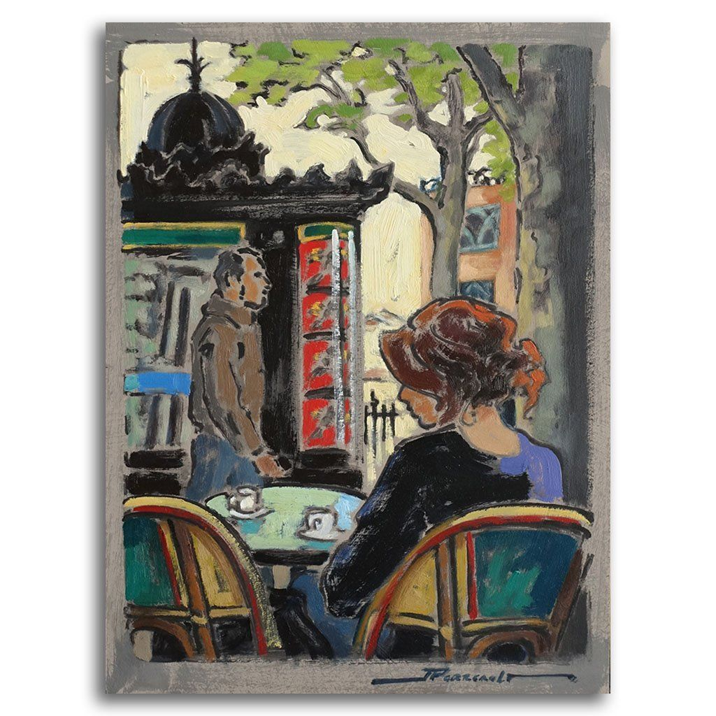 Place de Abesses à Montmartre Oil on Canvas by Jeannette Perreault