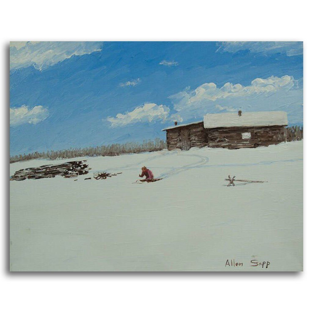Playing in the Snow Acrylic on Canvas by Allen Sapp