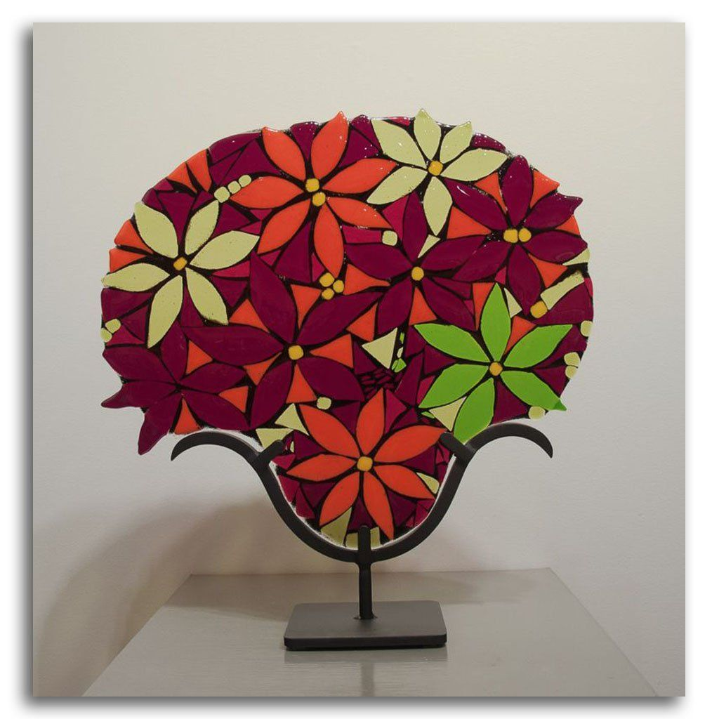 Poinsettia Hand fused glass with metal stand by Tammy Hudgeon