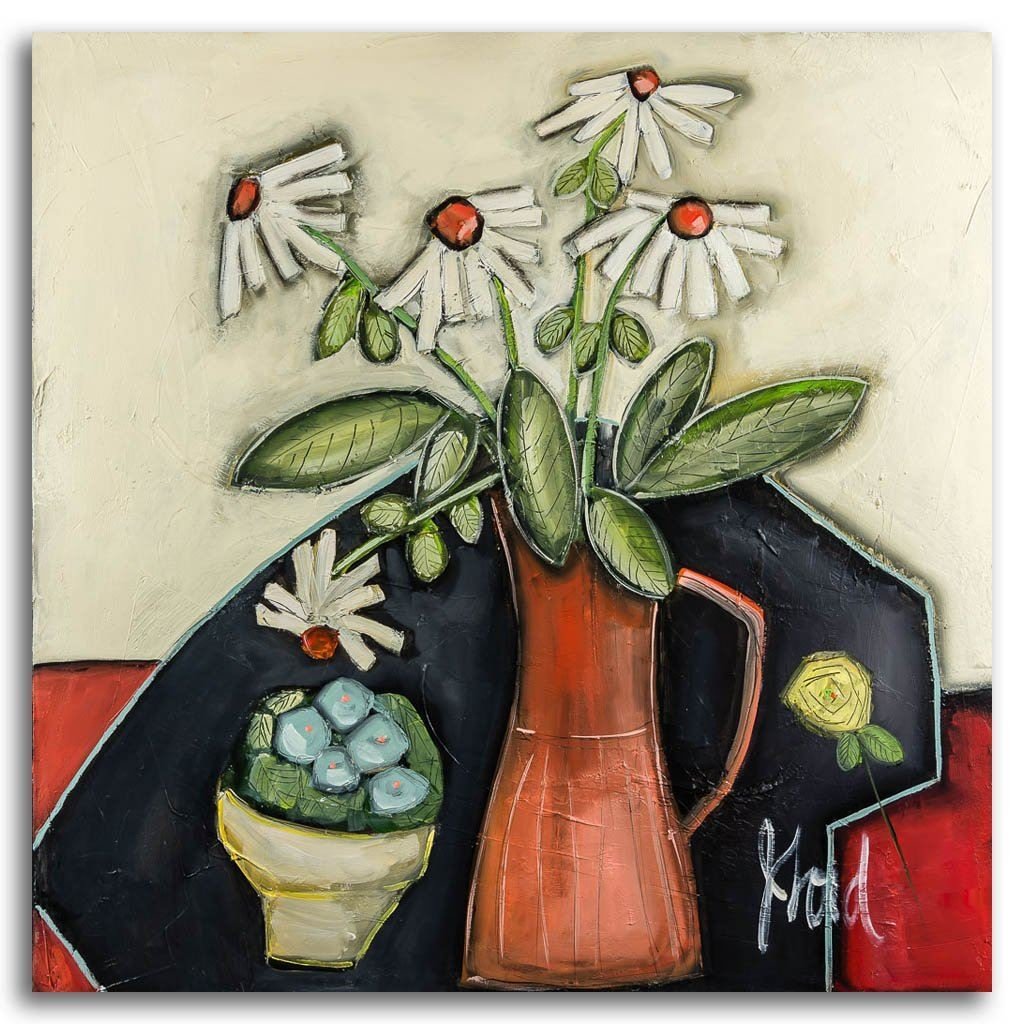 Pot de Marguerite acrylic on canvas by Josée Lord