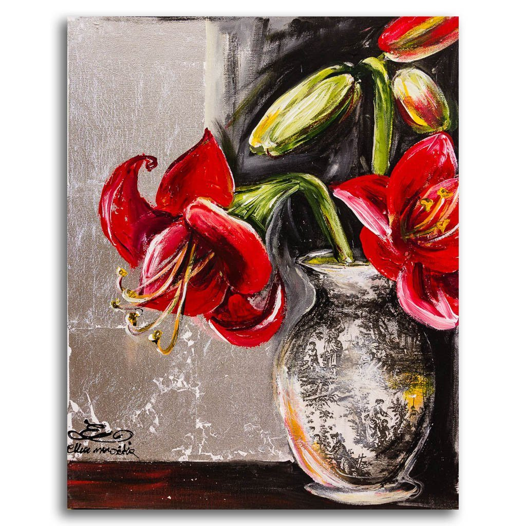 Red Amaryllis in Vintage Vase Mixed Media on canvas Elka Nowicka