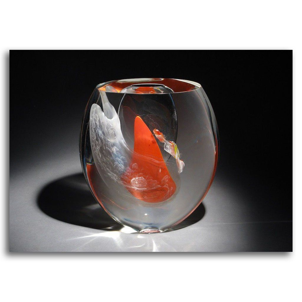 Red Floating - Unexpected Encounter Cold Worked Blown Glass by Maryse Chartrand