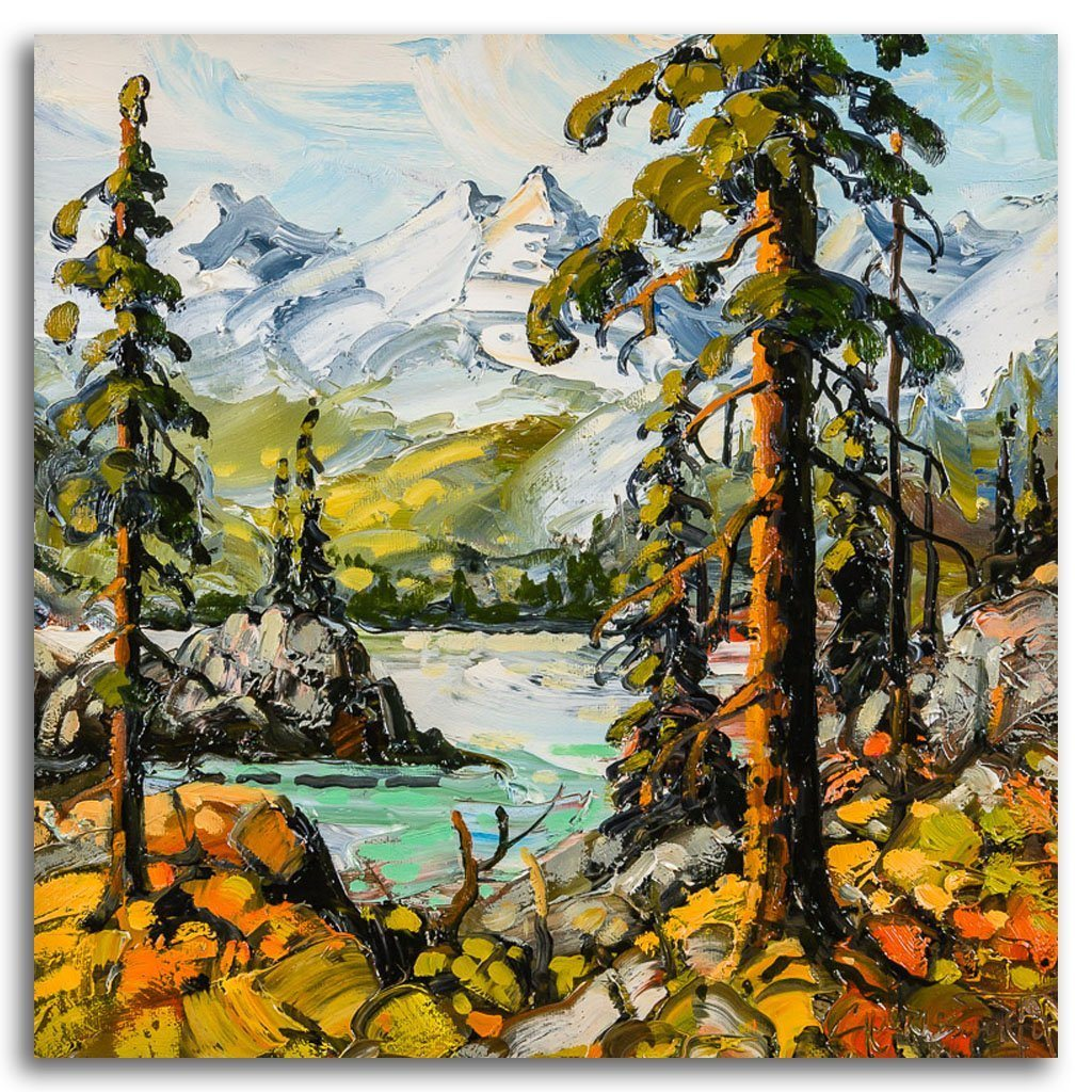 Rockies, Near Canmore Oil on Canvas by Rod Charlesworth
