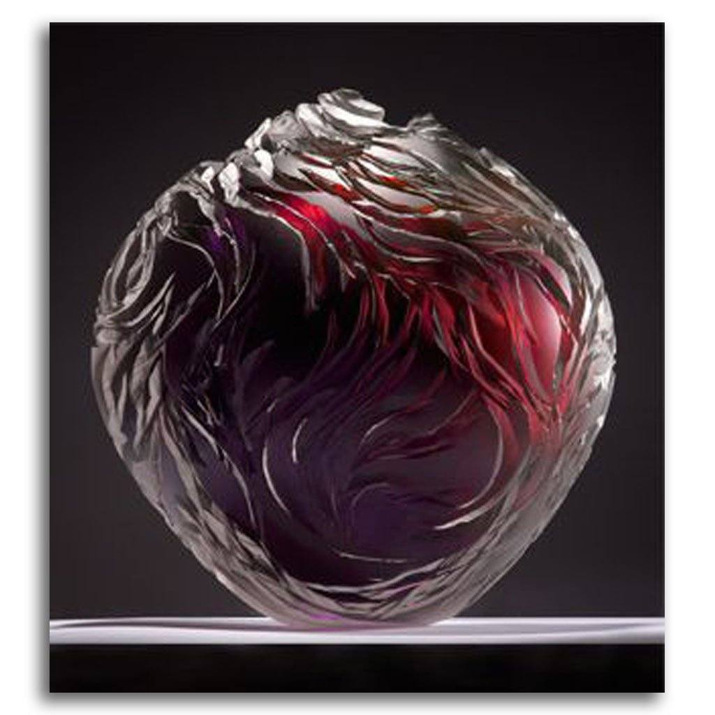 Round Vessel - Aubergine & Burgundy Cold Worked Blown Glass by Lois Scott