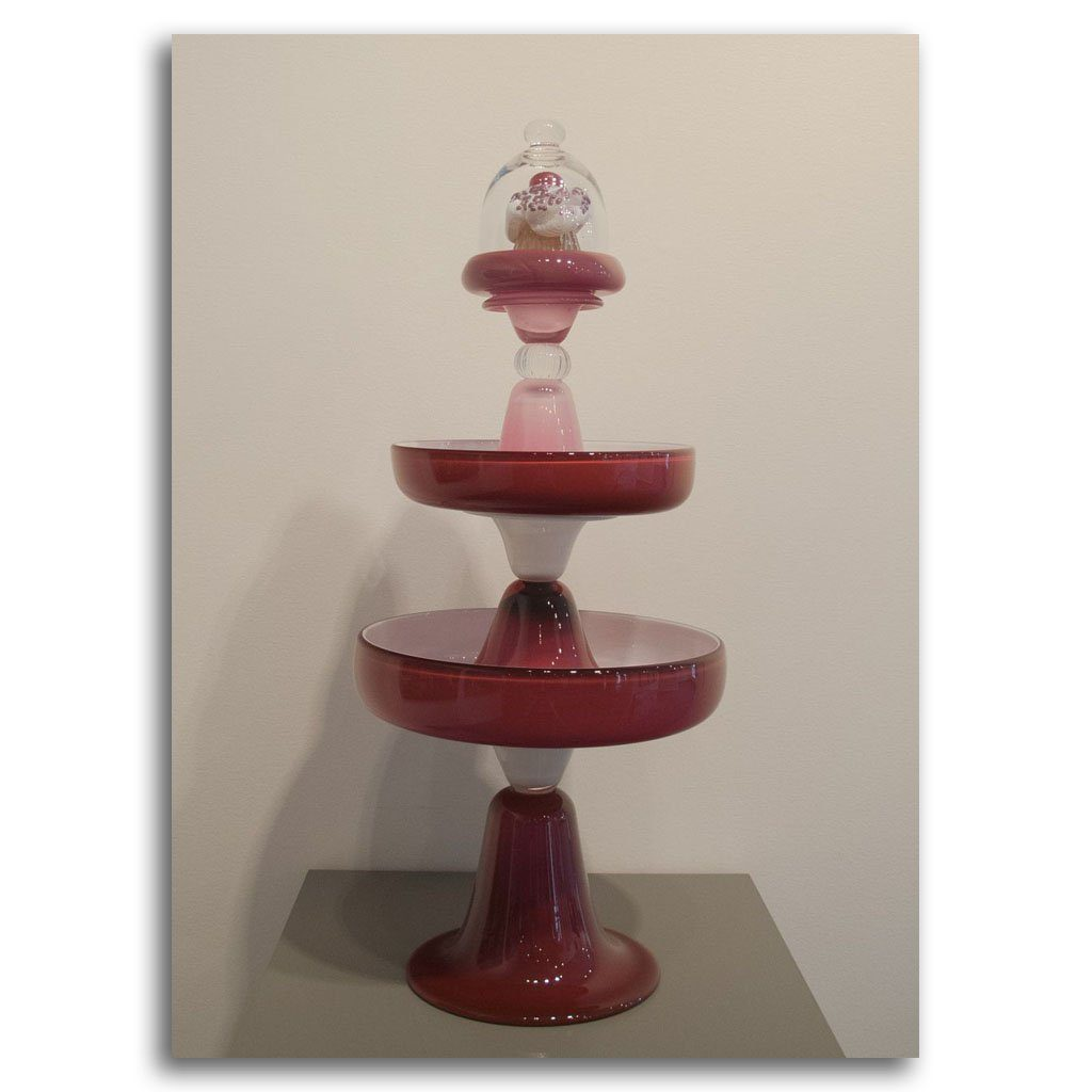 Ruby and White Stand with Cupcake Blown Glass by Andrea Ripley