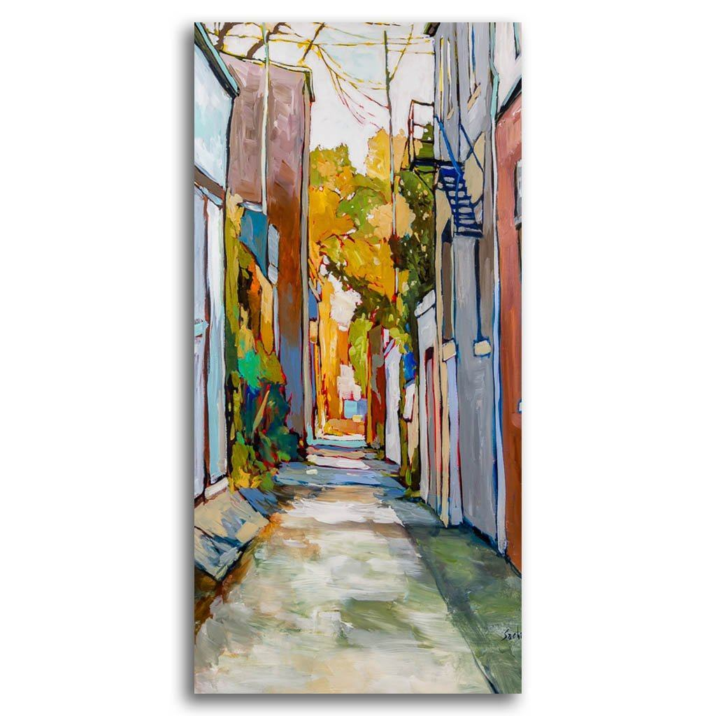 Ruelle Bátiment Cuivre Acrylic on Canvas by Sacha Barrette