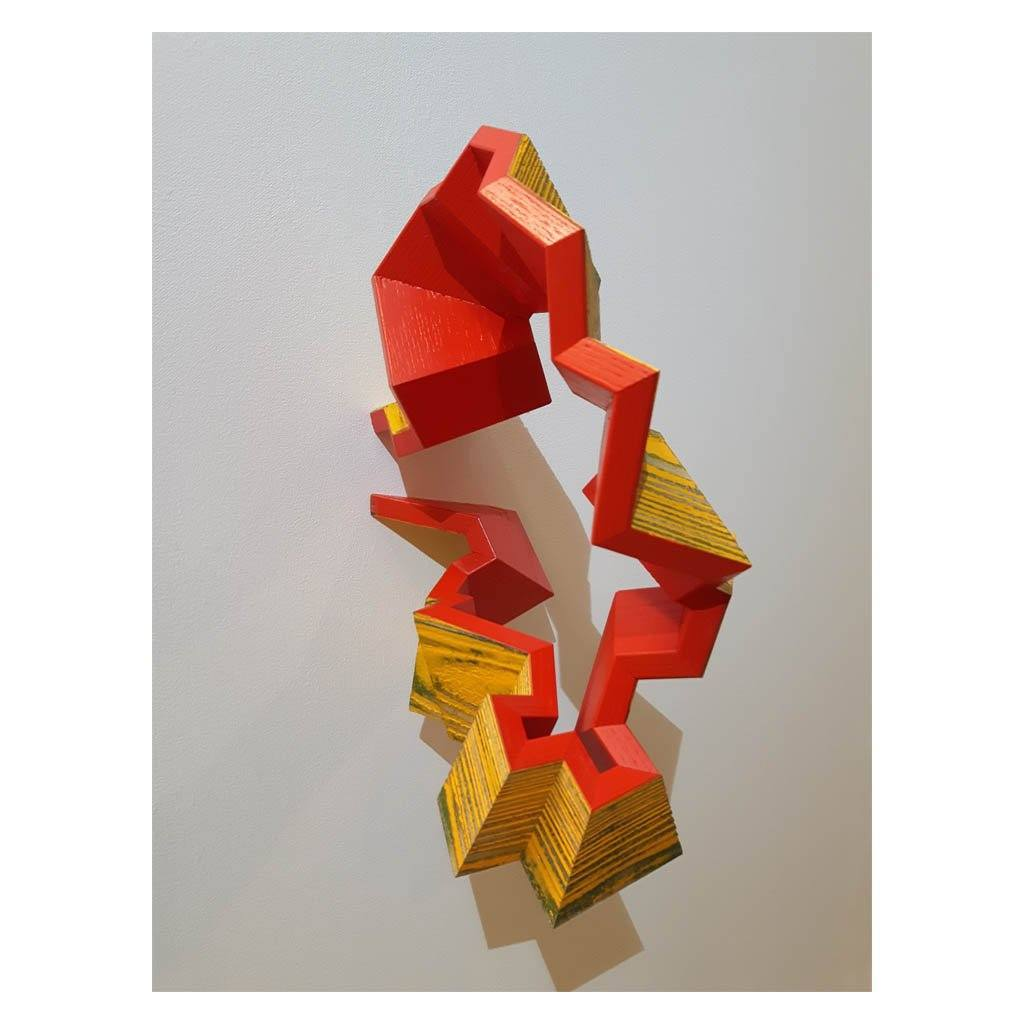 Sandblasted and Red Reclaimed Wood Mixed Media Sculpture by Andrew Mirth