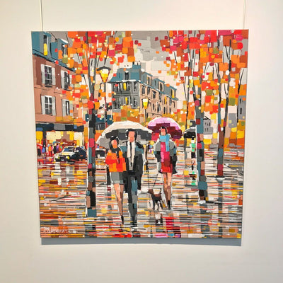 Sharing Umbrellas Acrylic on Canvas by Aleksandra Savina