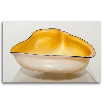 Signature Series Bowl - Amber II Blown and Silver Foiled Glass by David Thai