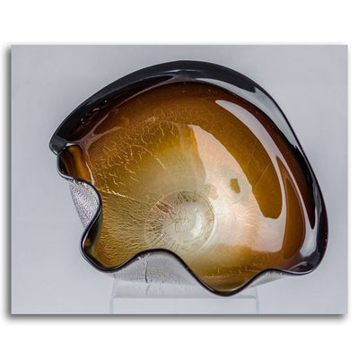 Signature Series Bowl - Brown Blown and Silver Foiled Glass by David Thai