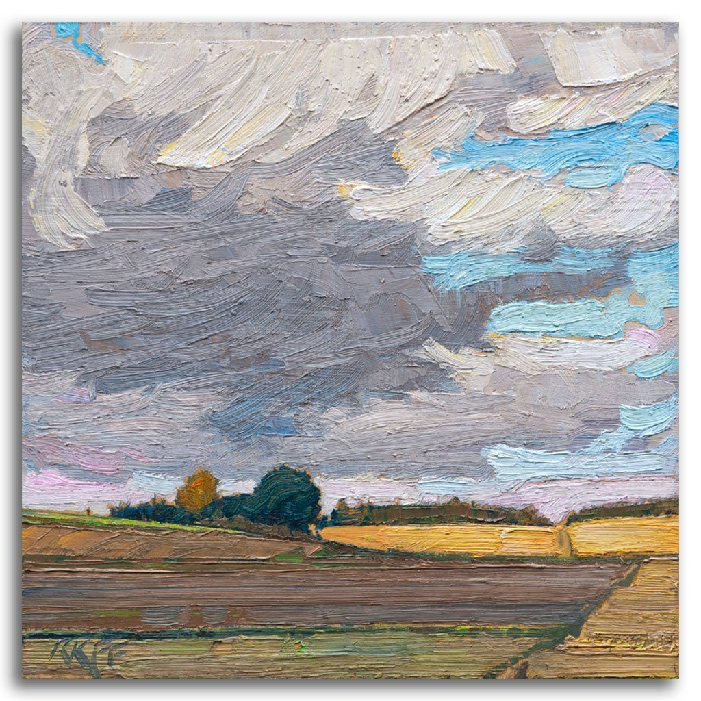 Sky and Fields Oil on Board by Ken Faulks