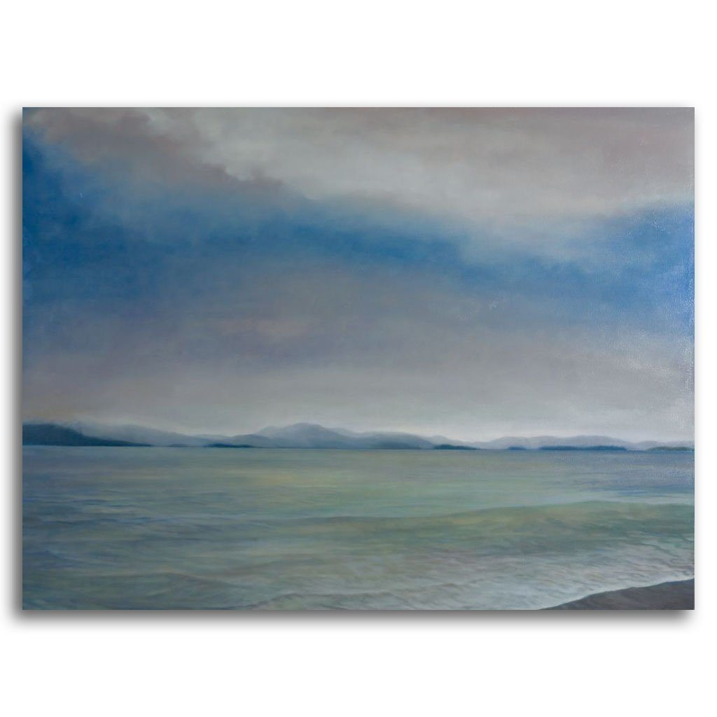 Sky, Beach and Sea Oil on Canvas by Patricia Johnston