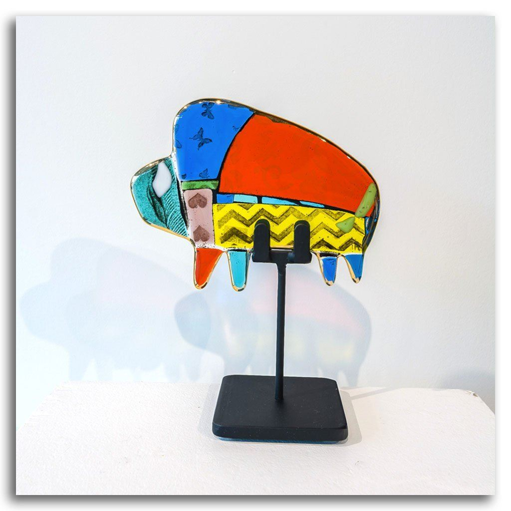 "Small Buffalo ""Cornelius"" Hand fused glass with metal stand by Tammy Hudgeon"