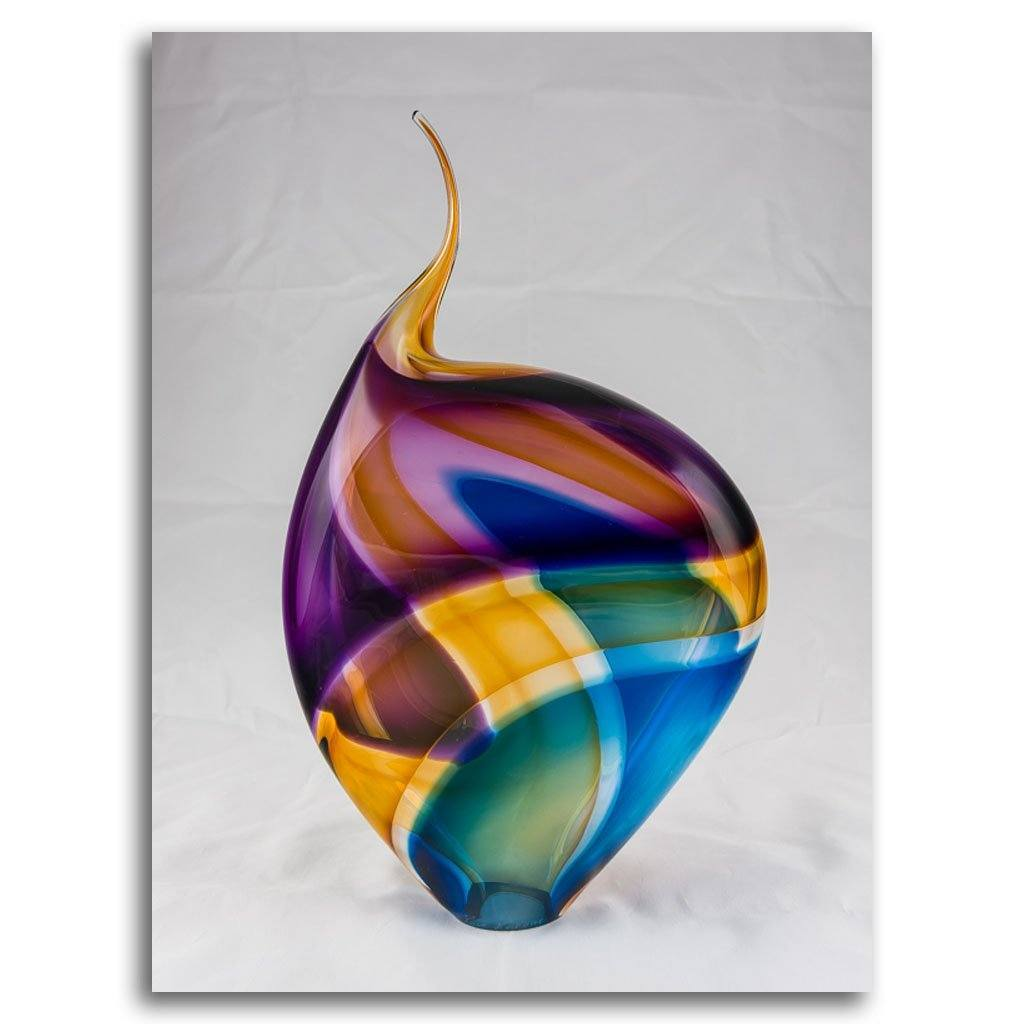 Small Incalmo Sculpture III - Purple, Amber, & Blue Blown Glass by Paull Rodrigue