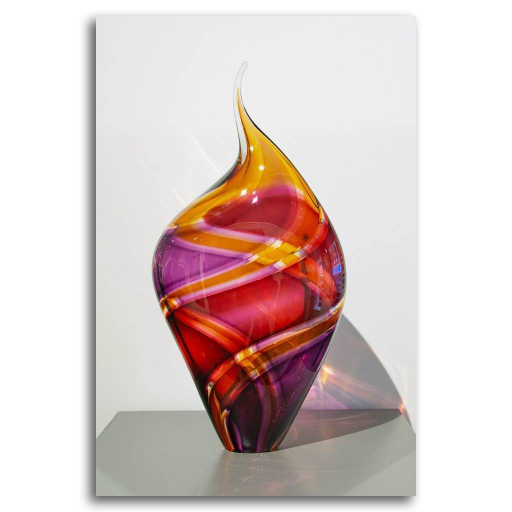 Small Incalmo Vessel - Amber, Purple, and Ruby Blown Glass by Paull Rodrigue