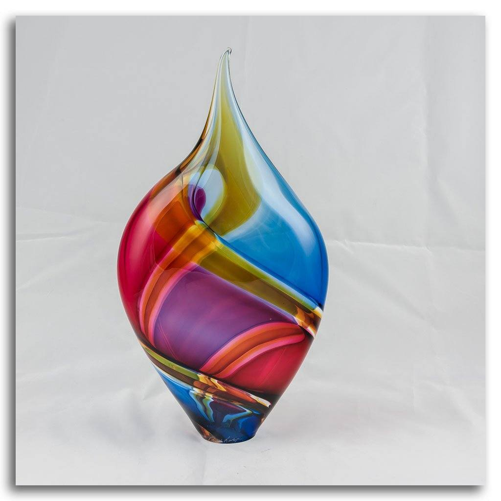Small Incalmo Vessel - Aqua, Gold, and Ruby Blown Glass by Paull Rodrigue