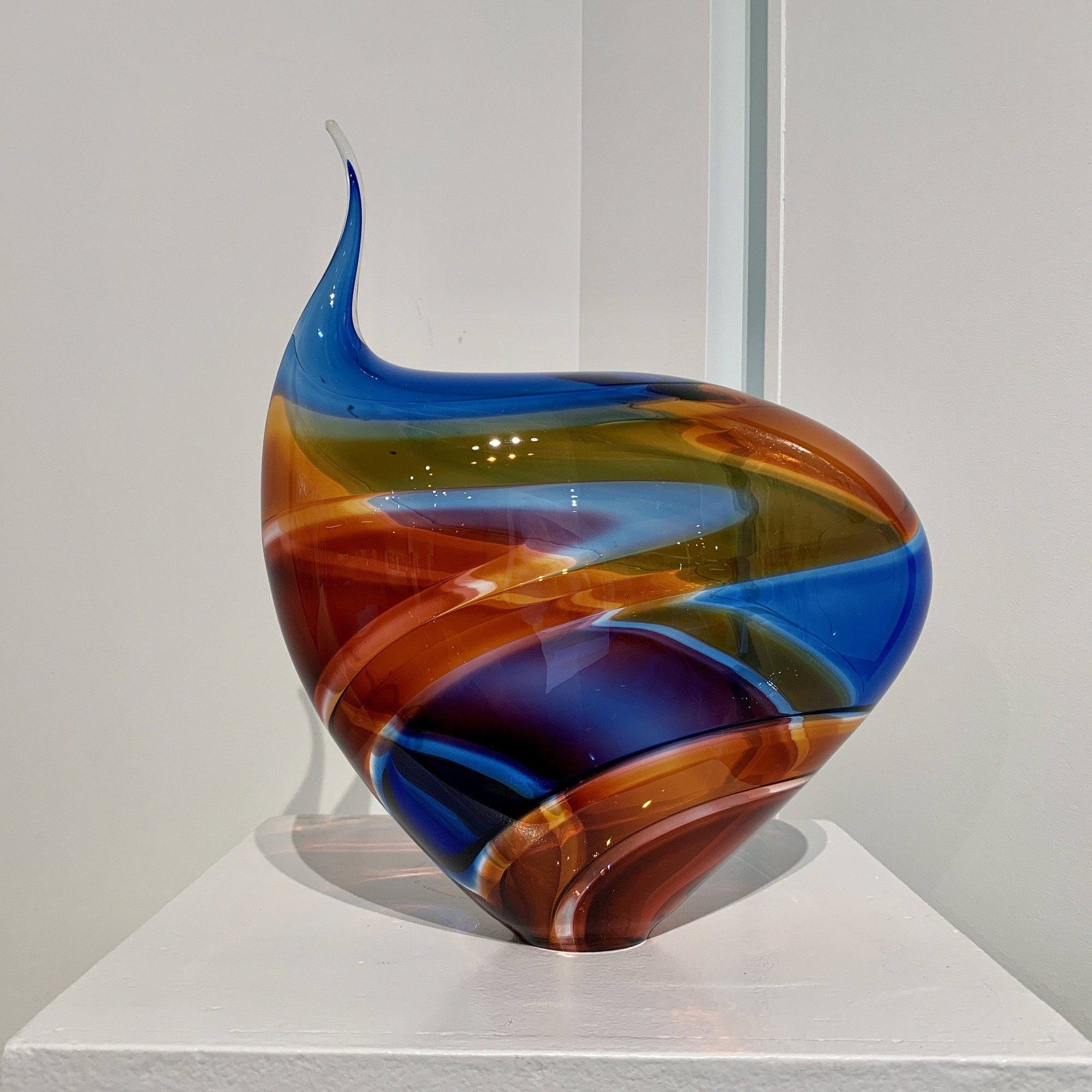 Small Incalmo Vessel - Blue, Orange, and Ruby Blown Glass Paull Rodrigue