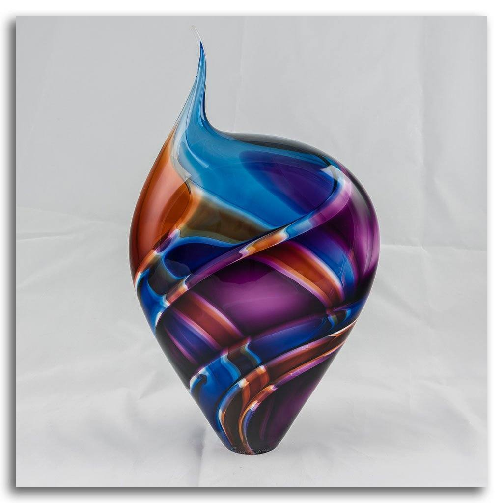 Small Incalmo Vessel - Purple, Blue, and Gold Blown Glass by Paull Rodrigue