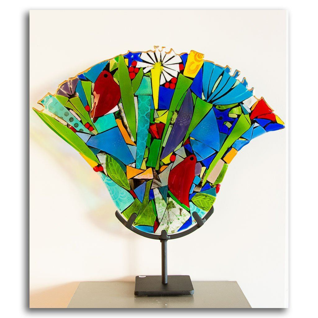 Songbird Bouquet Hand fused glass with metal stand by Tammy Hudgeon