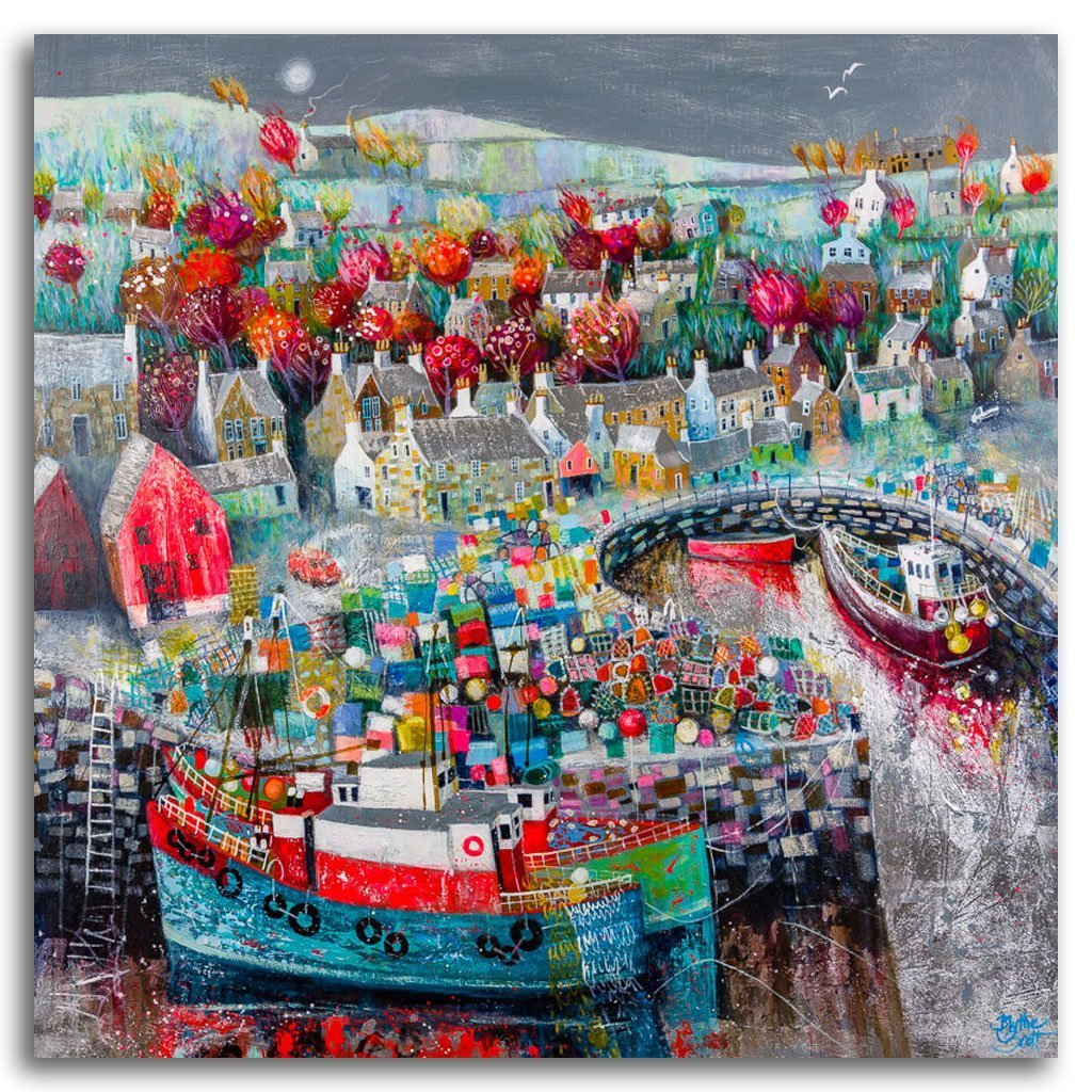 Sonsie Wee Harbour Acrylic and Mixed Media on Panel by Blythe Scott