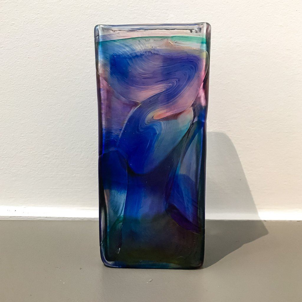 Square Vase - Blue/Pink/Purple Iridescent Blown Glass Robert Held