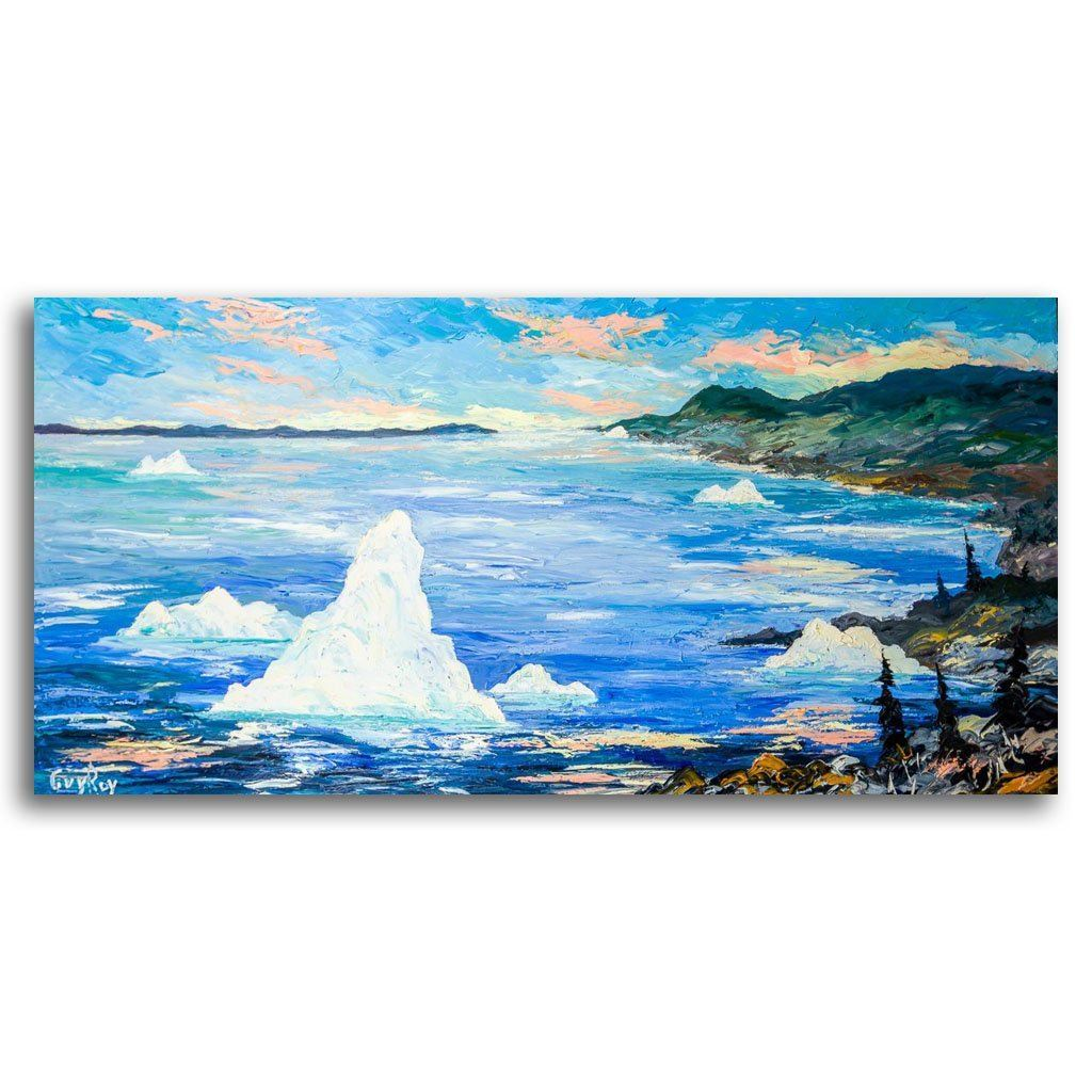 The Icebergs Oil on Canvas by Guy Roy