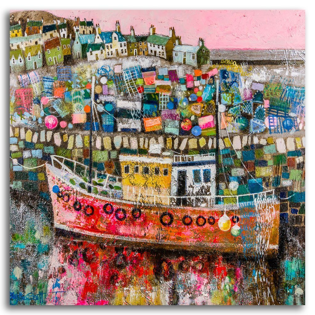 Ticketyboo Harbour Acrylic and Mixed Media on Panel by Blythe Scott