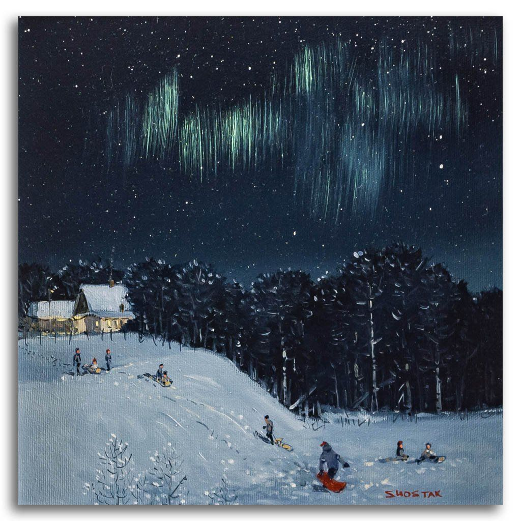 Tobogganing on our neighbour's hill Oil on Canvas Peter Shostak