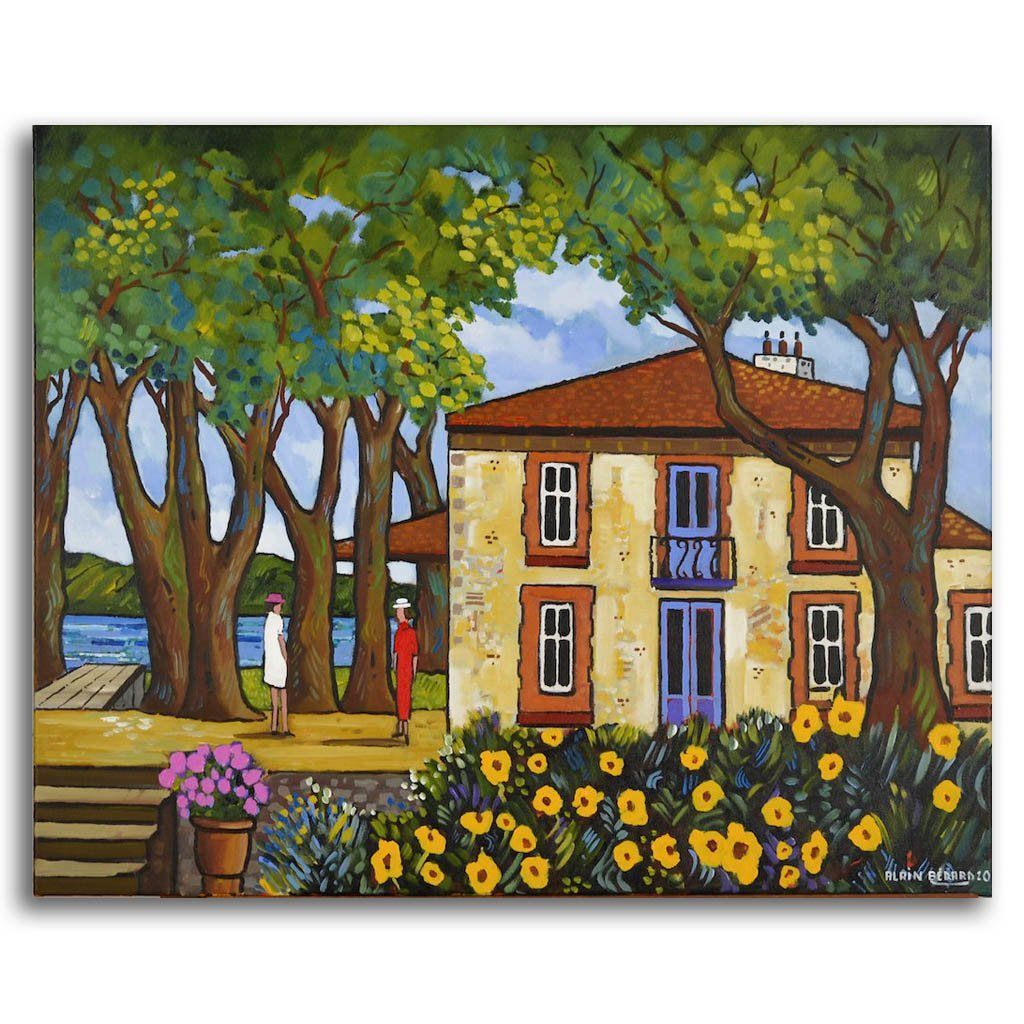 Two Sisters House Acrylic on Canvas by Alain Bédard