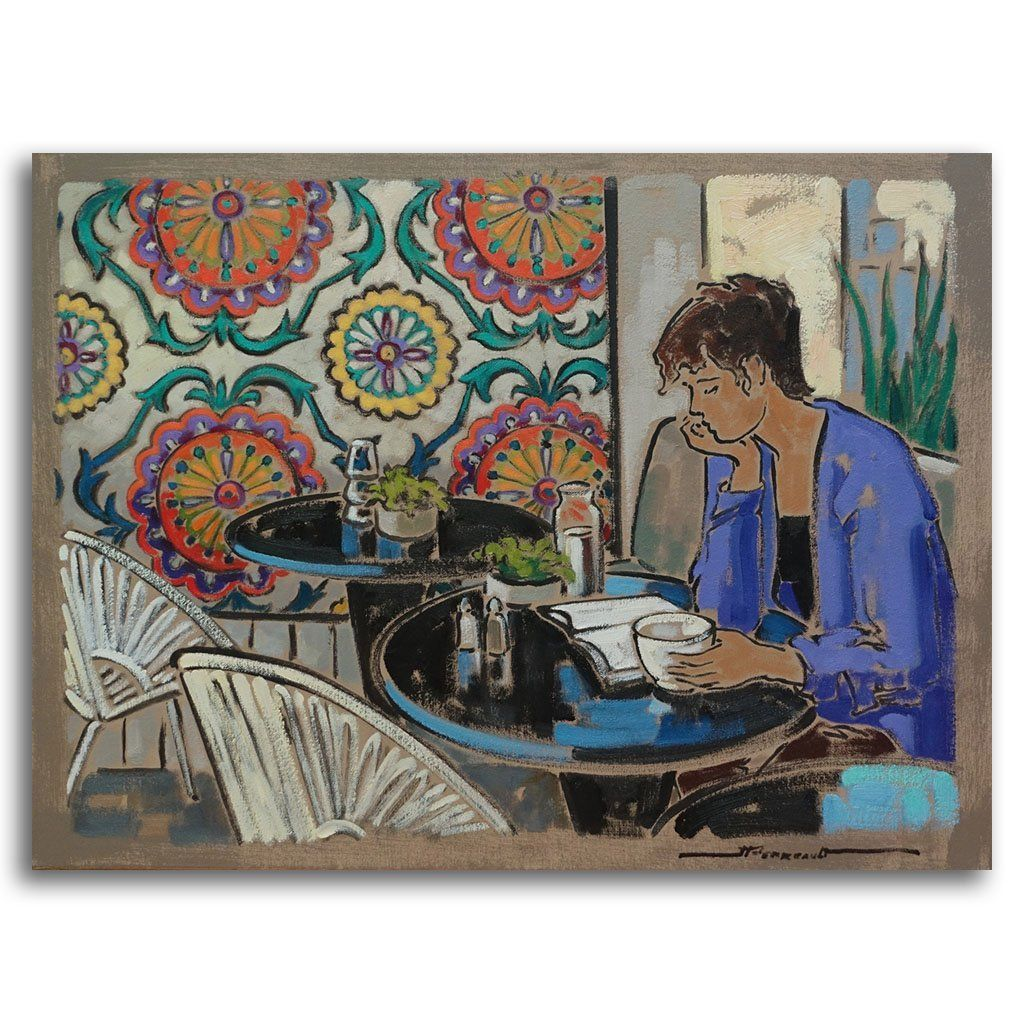 Un Café et un Roman au Gypsy Oil on Canvas by Jeannette Perreault