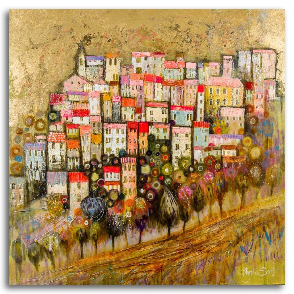 Uptown Acrylic and Mixed Media on Linen by Blythe Scott
